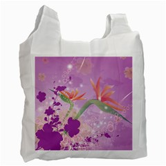 Wonderful Flowers On Soft Purple Background Recycle Bag (two Side)  by FantasyWorld7