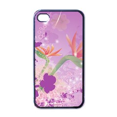 Wonderful Flowers On Soft Purple Background Apple Iphone 4 Case (black) by FantasyWorld7