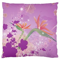 Wonderful Flowers On Soft Purple Background Standard Flano Cushion Cases (one Side)
