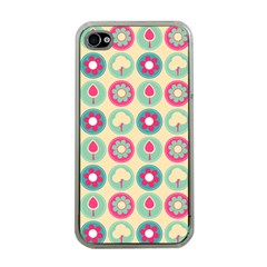 Chic Floral Pattern Apple Iphone 4 Case (clear) by creativemom