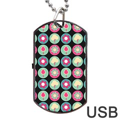 Chic Floral Pattern Dog Tag Usb Flash (two Sides)  by creativemom