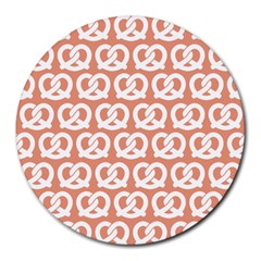 Salmon Pretzel Illustrations Pattern Round Mousepads by creativemom