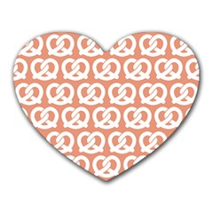 Salmon Pretzel Illustrations Pattern Heart Mousepads by creativemom