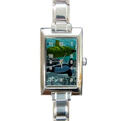 Submarine With Orca Rectangle Italian Charm Watches by FantasyWorld7