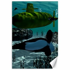 Submarine With Orca Canvas 12  X 18   by FantasyWorld7