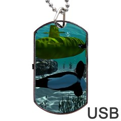 Submarine With Orca Dog Tag Usb Flash (one Side)