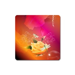 Beautiful Roses With Dragonflies Square Magnet by FantasyWorld7