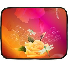 Beautiful Roses With Dragonflies Double Sided Fleece Blanket (mini)