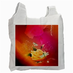 Beautiful Roses With Dragonflies Recycle Bag (one Side) by FantasyWorld7