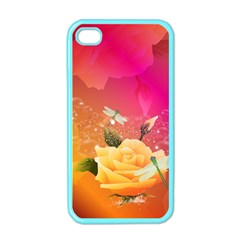 Beautiful Roses With Dragonflies Apple Iphone 4 Case (color) by FantasyWorld7