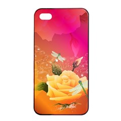 Beautiful Roses With Dragonflies Apple Iphone 4/4s Seamless Case (black) by FantasyWorld7