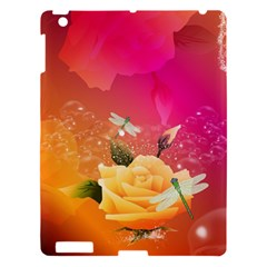 Beautiful Roses With Dragonflies Apple Ipad 3/4 Hardshell Case by FantasyWorld7