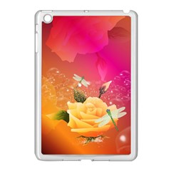 Beautiful Roses With Dragonflies Apple Ipad Mini Case (white) by FantasyWorld7