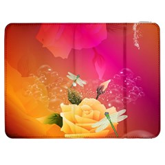 Beautiful Roses With Dragonflies Samsung Galaxy Tab 7  P1000 Flip Case by FantasyWorld7