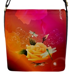 Beautiful Roses With Dragonflies Flap Messenger Bag (s) by FantasyWorld7