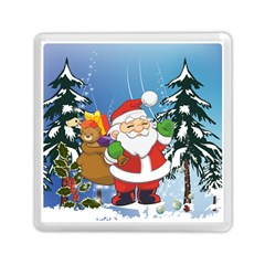 Funny Santa Claus In The Forrest Memory Card Reader (square)
