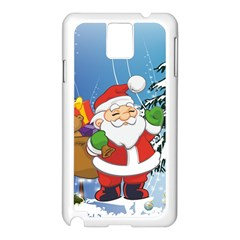 Funny Santa Claus In The Forrest Samsung Galaxy Note 3 N9005 Case (white) by FantasyWorld7