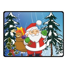Funny Santa Claus In The Forrest Double Sided Fleece Blanket (small)