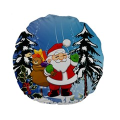 Funny Santa Claus In The Forrest Standard 15  Premium Flano Round Cushions by FantasyWorld7