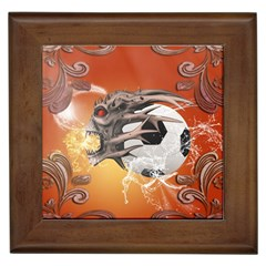 Soccer With Skull And Fire And Water Splash Framed Tiles by FantasyWorld7
