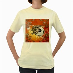 Soccer With Skull And Fire And Water Splash Women s Yellow T Shirt by FantasyWorld7