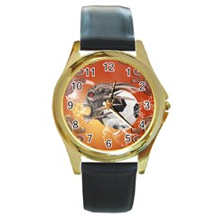 Soccer With Skull And Fire And Water Splash Round Gold Metal Watches by FantasyWorld7