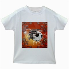 Soccer With Skull And Fire And Water Splash Kids White T Shirts by FantasyWorld7