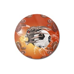 Soccer With Skull And Fire And Water Splash Magnet 3  (round) by FantasyWorld7