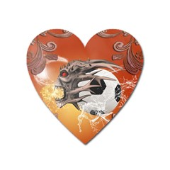 Soccer With Skull And Fire And Water Splash Heart Magnet by FantasyWorld7