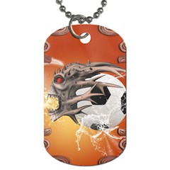 Soccer With Skull And Fire And Water Splash Dog Tag (two Sides) by FantasyWorld7