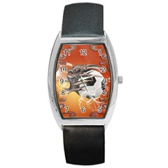 Soccer With Skull And Fire And Water Splash Barrel Metal Watches by FantasyWorld7