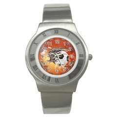 Soccer With Skull And Fire And Water Splash Stainless Steel Watches by FantasyWorld7