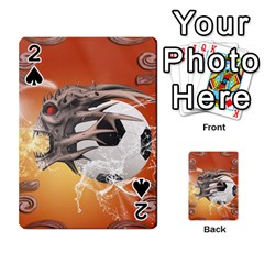 Soccer With Skull And Fire And Water Splash Playing Cards 54 Designs  by FantasyWorld7