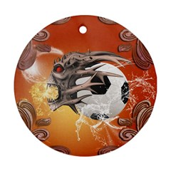 Soccer With Skull And Fire And Water Splash Round Ornament (two Sides)  by FantasyWorld7