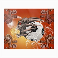 Soccer With Skull And Fire And Water Splash Small Glasses Cloth (2-side) by FantasyWorld7