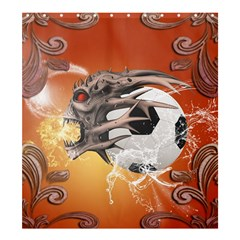 Soccer With Skull And Fire And Water Splash Shower Curtain 66  X 72  (large)  by FantasyWorld7