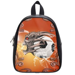 Soccer With Skull And Fire And Water Splash School Bags (small)  by FantasyWorld7