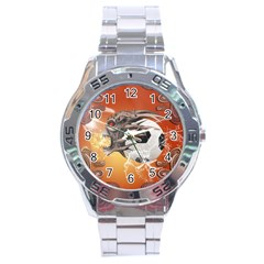 Soccer With Skull And Fire And Water Splash Stainless Steel Men s Watch by FantasyWorld7