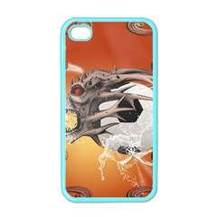 Soccer With Skull And Fire And Water Splash Apple Iphone 4 Case (color) by FantasyWorld7