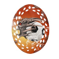 Soccer With Skull And Fire And Water Splash Ornament (oval Filigree)  by FantasyWorld7