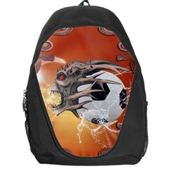 Soccer With Skull And Fire And Water Splash Backpack Bag by FantasyWorld7