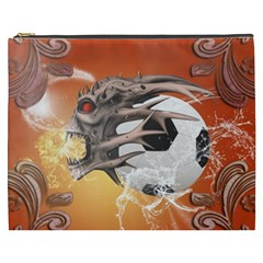 Soccer With Skull And Fire And Water Splash Cosmetic Bag (xxxl)  by FantasyWorld7