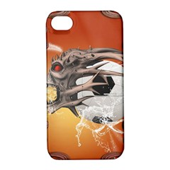 Soccer With Skull And Fire And Water Splash Apple Iphone 4/4s Hardshell Case With Stand by FantasyWorld7
