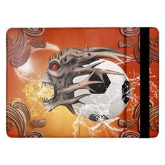 Soccer With Skull And Fire And Water Splash Samsung Galaxy Tab Pro 12 2  Flip Case by FantasyWorld7