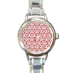 Trendy Pretzel Illustrations Pattern Round Italian Charm Watches by creativemom