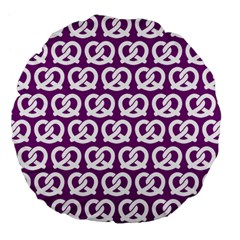 Purple Pretzel Illustrations Pattern Large 18  Premium Flano Round Cushions