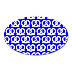Blue Pretzel Illustrations Pattern Oval Magnet by creativemom