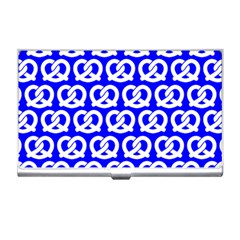 Blue Pretzel Illustrations Pattern Business Card Holders by creativemom