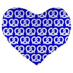 Blue Pretzel Illustrations Pattern Large 19  Premium Heart Shape Cushions by creativemom