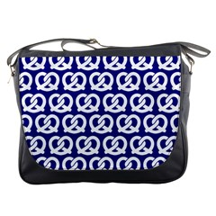 Navy Pretzel Illustrations Pattern Messenger Bags by creativemom